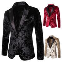 Men Crushed Velvet Suit Jacket Peak Lapel Blazer Dinner Prom Wedding Coat Casual