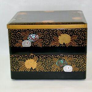 Antique Wajima urushi Gold maki-e Raden and inlay work Nashiji inside jubako 2-t