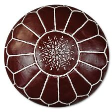 Moroccan Leather Pouf Bordeaux - Delivered Stuffed, Ottoman, Footstool