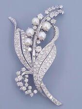 Antique Art Deco Platinum 7 ct Old Mine / European Cut Diamond Pearl Brooch