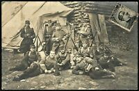 WW1 PLATOON FULLY EQUIPPED LEBEL RIFLE WAR MILITARY ANTIQUE PHOTO RPPC POSTCARD