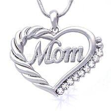 USA Mom Women Heart Crystal Rhinestone 925 Silver Chain Pendant Necklace Charm