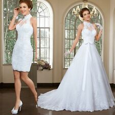 newLace Wedding Dresses With Detachable Train White Tulle Bride Bridal Gown