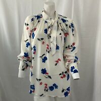 ModCloth Womens White Multicolored Floral Blouse w Pussybow Large