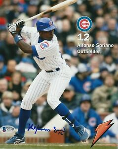 ALFONSO SORIANO Signed Chicago CUBS 8x10 PHOTO w/ Beckett COA