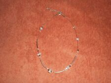 Neclace silver colour chain beaded with jade like stone used good condition
