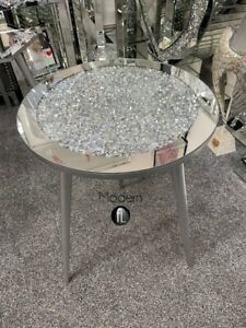 Crushed diamond mirrored round side table silver wood leg, glitz sparkle table