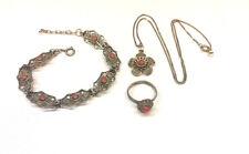 Armband Ring und Kette mit Anhänger Silber Set 925er Sterling Silber mit Koralle