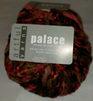 2 SKEINS/BALLS OF (DISCONTINUED) PALACE BY ARTFUL YARNS ~ COLOR #365 RED/GOLD