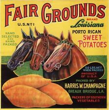 GENUINE FAIR GROUNDS BRAND YAM LABEL HORSES LOUISIANA VINTAGE C1940 HORSERACING