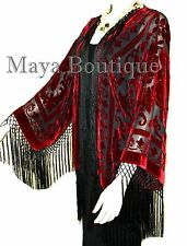 Red & Black Fringe Jacket Kimono Bolero Silk Burnout Velvet Maya Boutique
