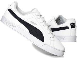 PUMA Mens Smash Vulc Leather Trainers Shoes 359622-10 White / Peacoat