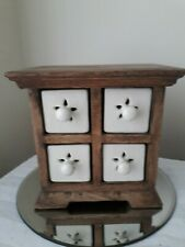 Small oak spice rack with four pottery drawers vintage modern 16 cm high 17 cm w