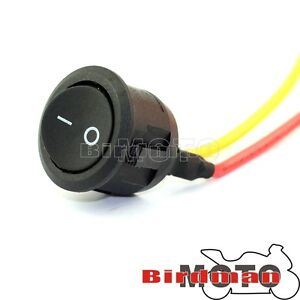 Motorcycle switch button ON-OFF mini pre wired round rocker  push switch