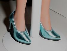 Doll Shoes, Custom 50mm Metallic Light Blue Pumps for Ellowyne