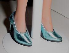Doll Shoes, Custom 50mm Metallic Light Blue Pumps for Ellowyne