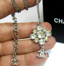 Chanel Silver Crystal CC LOGO Pendant Necklace