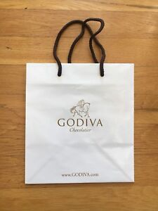 Empty Godiva Gift/Shopping Bag - White  - 8 x 8.75 x 5.5