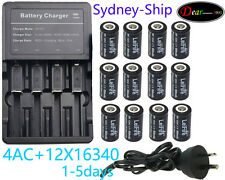 FourCharger+12xGenuine NL166 RCR123A 16340 Rechargeable Battery Li-ion Protected