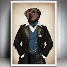 CHOCOLATE LABRADOR DOG ANIMAL ART PRINT PICTURE HIPSTER GIFT FOR MEN DOG LOVER