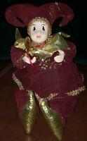 Shelf Sitter Clown Jester Musical Figurine Golden Suit Body Moves Vtg 12 in high