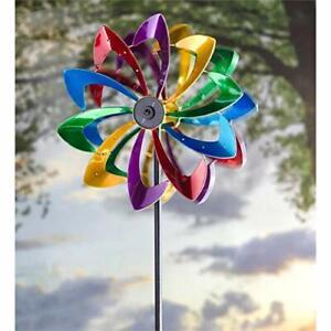 Evergreen Garden LED Flower 75 inch Metal Kinetic Solar Wind Spinner