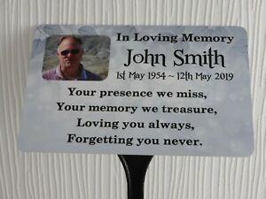 Memorial Plaque Personalised Photo Grave Marker Metal WEATHERPROOF Ground Stake