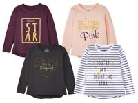 Girls' Long - Sleeved Top 100% cotton Glitter Print Desing 12 24 m 2 3 4 5 6 age