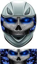 Skull flame fire blue helmet visor wrap tint vinyl graphic decal style