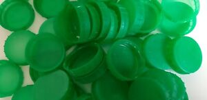 50 Green Plastic Milk Bottle Tops/Lids - perfect for arts and crafts projects