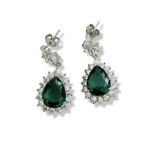 White gold finish Green Emerald And Created diamond Pear cut Dangle earrings