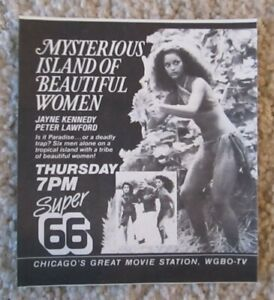 JAYNE KENNEDY in MYSTERIOUS ISLAND OF BEAUTIFUL WOMEN exploitation TV clipping