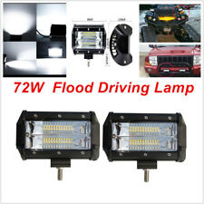 2pcs 5'' 72W LED Work Light Bar Flood Driving Lamp for Jeep Truck Boat Off road