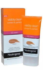 NEUTROGENA Visibly Clear Correct & Perfect CC Cream Medium 1.69 fl oz FREE SHIP