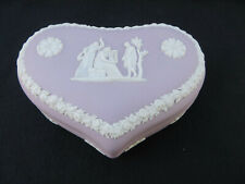 Vintage Wedgwood Lilac Purple Jasperware Large Heart Shape Trinket Covered Box