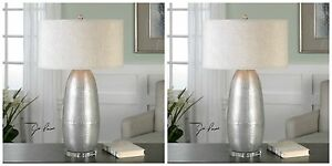 PAIR URBAN MODERN BURNISHED SILVER HAMMERED METAL TABLE LAMP CRYSTAL FOOT