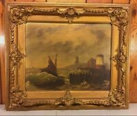 Ant LeVitt Oil Painting Marine Scene Ship with Lighthouse in Wood Frame Signed