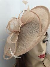 NEW Nude Beige Fascinator Saucer Wedding Hat Formal Pastel Hatinator Ascot Races