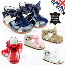 GIRLS BABY SPANISH BOW SANDALS LEATHER SPIDER SANDAL PINK NAVY CAMEL RED WHITE