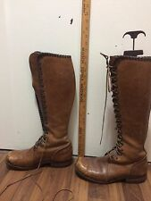 VINTAGE TALL Men's Brown Logger lineman style Leather Lace Up BOOTS size 8 1/2