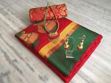 Red cotton silk with necklace latkan saree with blouse
