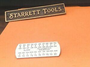"STARRETT No. 286 Drill & Steel Wire Gage, .039 - .0135"" Range, # 61-80. USA Made"