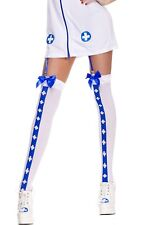 Nurse White and Blue Cross Ruffle Top Stockings Hosiery Hold Ups