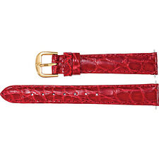 Stuller New Ladies Genuine Red Crocodile Padded 12mm Regular Watch Strap Band