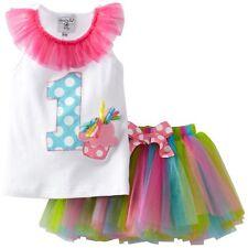 Mud Pie Girls 1st Birthday Wishes Cupcake Applique Pettiskirt Tutu Dress New