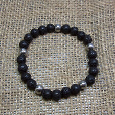 8mm Lava Stone Stretch Bracelet W/ Stainless Steel Accent Beads