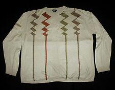 PELETTI Crewneck Sweater 100% Acrylic Beige 2XL XXL Soft Wavy Lines Men's VTG