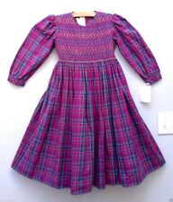 NWT Strasburg Boutique Modest Classic Smocked Long Purple Plaid Party Dress 6 6X