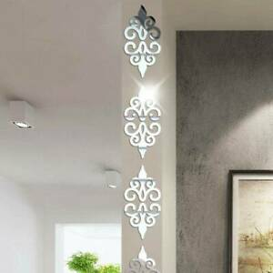 10pcs Pack Flower Mirror Wall Sticker Removable Art Mural Bedroom Bathroom Decor