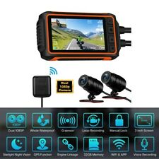 """A10 3"""" LCD Ip67 2 Channels 1080p Motorcycle Wi-fi GPS Dash Cam DVR Night Vision"""